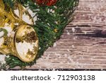 christmas decoration on wooden... | Shutterstock . vector #712903138