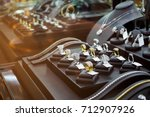 gold jewelry diamond shop with... | Shutterstock . vector #712907926