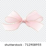 Stock vector realistic illustration in vector d pink transparent bow with gold border isolated on a 712908955