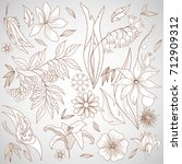set of hand drawn floral... | Shutterstock .eps vector #712909312