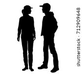 vector silhouettes of girl and... | Shutterstock .eps vector #712909648