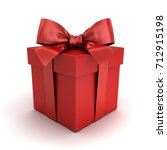 red gift box or red present box ... | Shutterstock . vector #712915198
