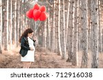 pregnant woman 30 35 year old... | Shutterstock . vector #712916038