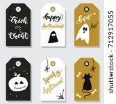Set Of Halloween Tags. Vector...