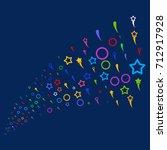 stream of confetti stars icons. ...   Shutterstock . vector #712917928