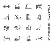 gym equipment icons  | Shutterstock .eps vector #712919575
