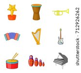 musical notation icons set.... | Shutterstock .eps vector #712926262