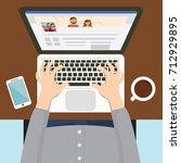 social network web site surfing ... | Shutterstock .eps vector #712929895