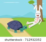 Stock vector rabbit sleep under tree while tortoise run on road 712932352