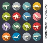 dinosaurs icon set | Shutterstock .eps vector #712932892