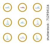 pleasure boat icons set.... | Shutterstock .eps vector #712934116
