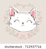 hand drawn cat  cute cat sketch ... | Shutterstock .eps vector #712937716