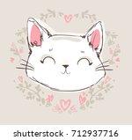 Stock vector hand drawn cat cute cat sketch vector illustration print design children print on t shirt girl 712937716