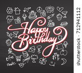 happy birthday lettering and... | Shutterstock .eps vector #712941112