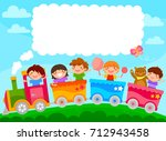 kids in a colorful train with... | Shutterstock . vector #712943458