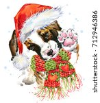 cute dog in santa hat.... | Shutterstock . vector #712946386