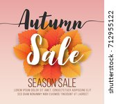 autumn sale square banner... | Shutterstock .eps vector #712955122