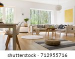 dining table with designed... | Shutterstock . vector #712955716