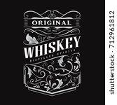 whiskey label hand drawn... | Shutterstock .eps vector #712961812