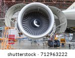 jet engine open and ready for... | Shutterstock . vector #712963222