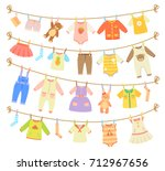 various items of baby clothes... | Shutterstock .eps vector #712967656