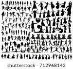 dance silhouettes | Shutterstock .eps vector #712968142