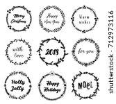 christmas hand drawn wreaths... | Shutterstock .eps vector #712973116