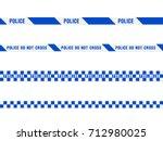 police warning blue tape set.... | Shutterstock .eps vector #712980025