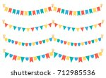 multicolored bright buntings... | Shutterstock .eps vector #712985536