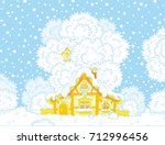 small hut snow covered on... | Shutterstock .eps vector #712996456