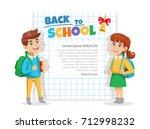 back to school announcement... | Shutterstock .eps vector #712998232