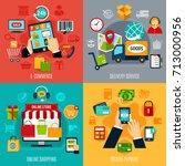 e commerce flat design concept... | Shutterstock .eps vector #713000956