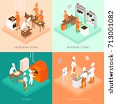 cooking isometric design... | Shutterstock .eps vector #713001082