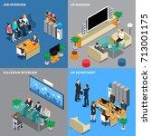 four squares recruitment hiring ...   Shutterstock .eps vector #713001175