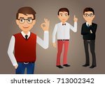 elegant people men in fashion... | Shutterstock .eps vector #713002342