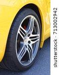 Small photo of Badacsony, Lake Balaton, Hungary - 09.10.2017: A Turbo wheel on a yellow Porsche 911.