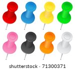 vector push pins | Shutterstock .eps vector #71300371