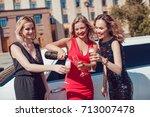 beautiful women near the... | Shutterstock . vector #713007478