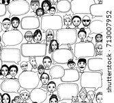 hand drawn pattern with cute... | Shutterstock .eps vector #713007952