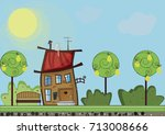 horizontal vector illustration... | Shutterstock .eps vector #713008666