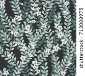 seamless leaves pattern | Shutterstock .eps vector #713008975