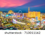 aerial view of las vegas strip... | Shutterstock . vector #713011162