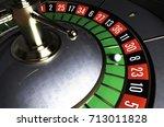 roulette wheel. roulette desk.... | Shutterstock . vector #713011828
