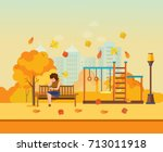 autumn kids playground ... | Shutterstock .eps vector #713011918