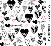 various red and black doodle... | Shutterstock .eps vector #713026402