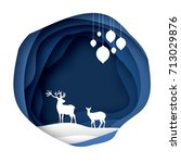 paper cut deer couple in snowy... | Shutterstock .eps vector #713029876