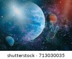 planets  stars and galaxies in... | Shutterstock . vector #713030035