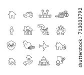 protection and people icons set ... | Shutterstock .eps vector #713032792