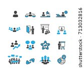 people and business icons set... | Shutterstock .eps vector #713032816