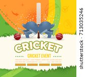cricket event torn paper poster ... | Shutterstock .eps vector #713035246